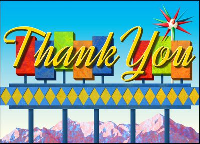 googie thank you card for new post