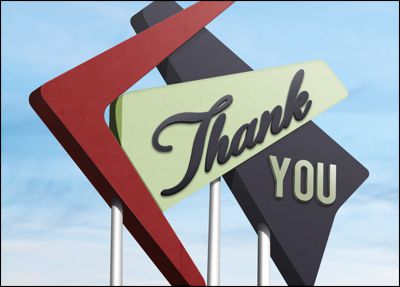 retro thank you card l