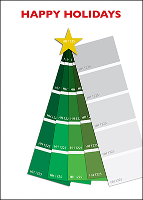 painter christmas tree card l