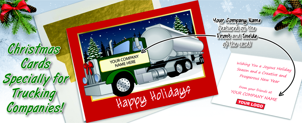 Ziti Cards - Trucking Christmas Cards Personalized For Your