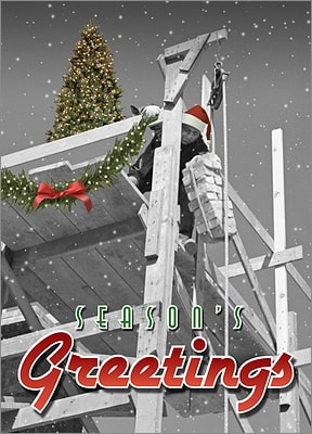 Bricklayer Christmas Card (Glossy White)