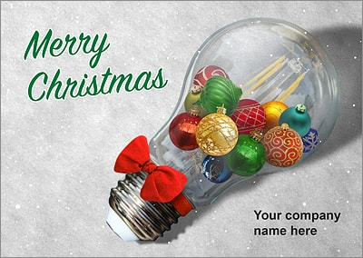Bulb Ornaments Christmas Card (Glossy White)