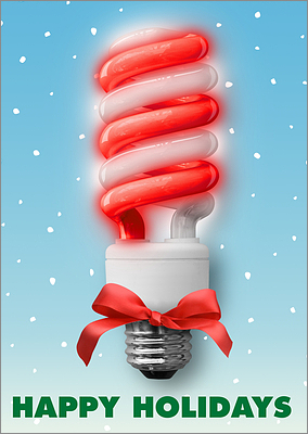Candy Cane Electrician Card (Glossy White)