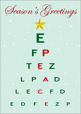 Christmas Eye Chart Card (Glossy White)