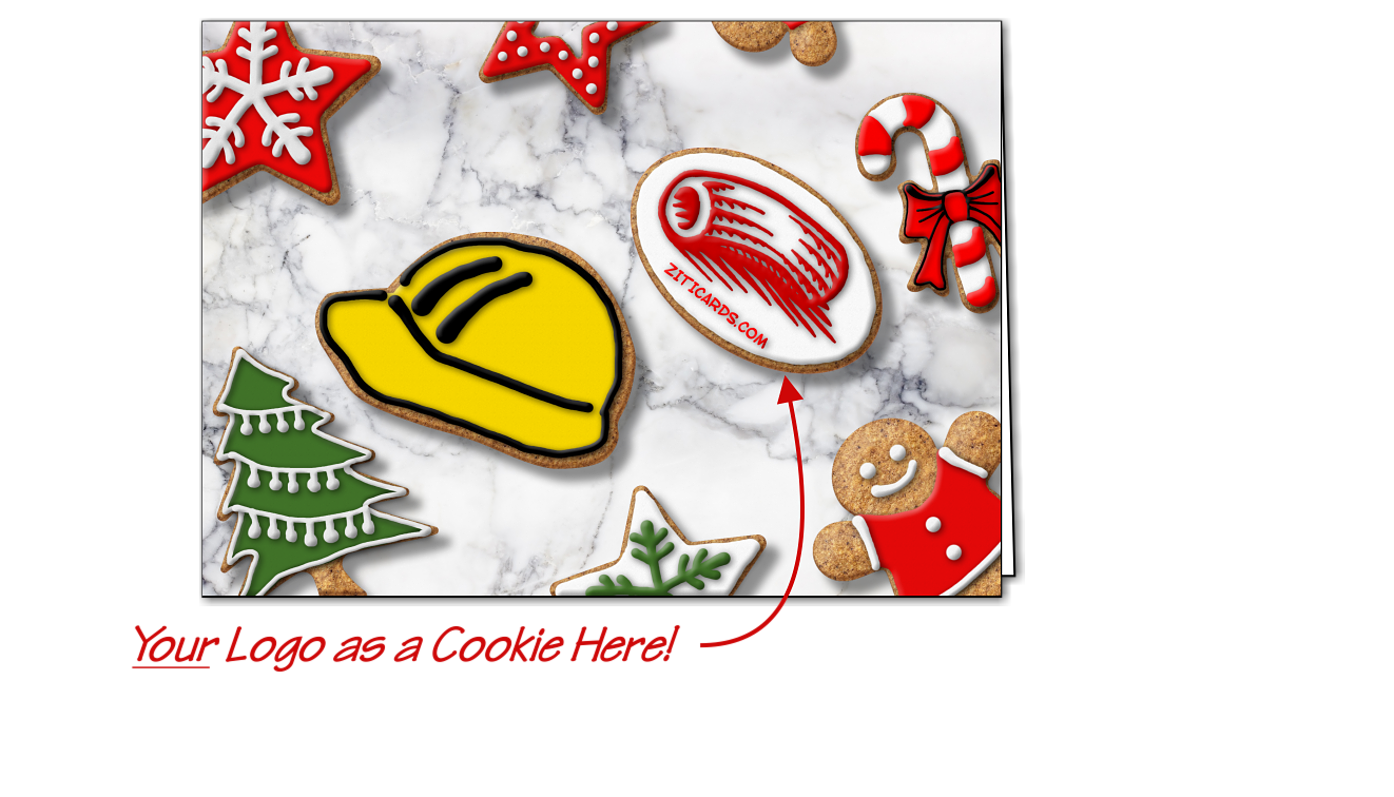 Construction Logo Cookies Christmas Cards Customized For Your Business