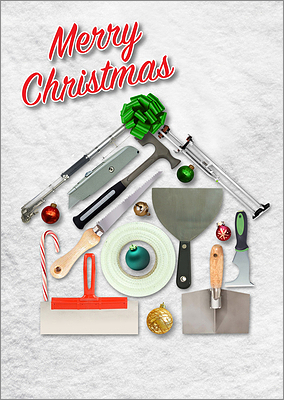 Drywall Tools Christmas Card (Glossy White)