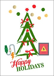 Electricians Tree Holiday Card