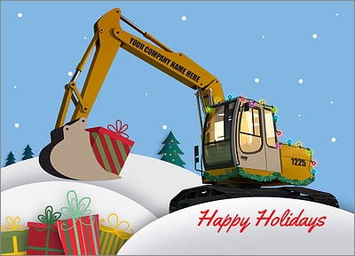 Excavator Christmas Card (Glossy White)