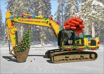Excavator Gift Christmas Card (Glossy White)