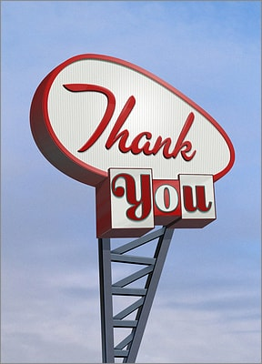 Googie Sign Thank You Card (Glossy White)