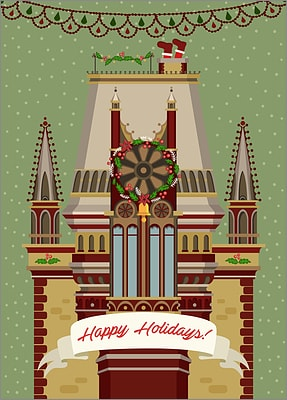 Gothic Architecture Christmas Card (Glossy White)