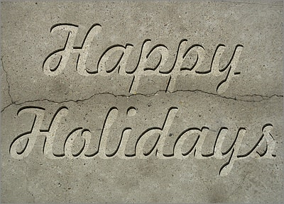 Happy Holidays Concrete (Glossy White)