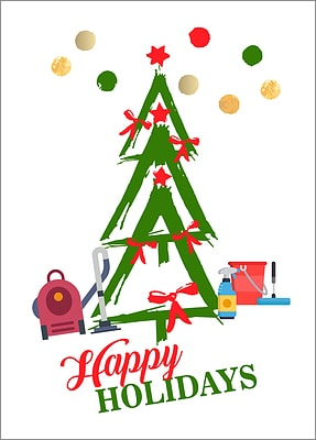 Janitorial Tree Holiday Card (Glossy White)