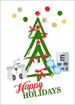 Optometrists Tree Holiday Card (Glossy White)
