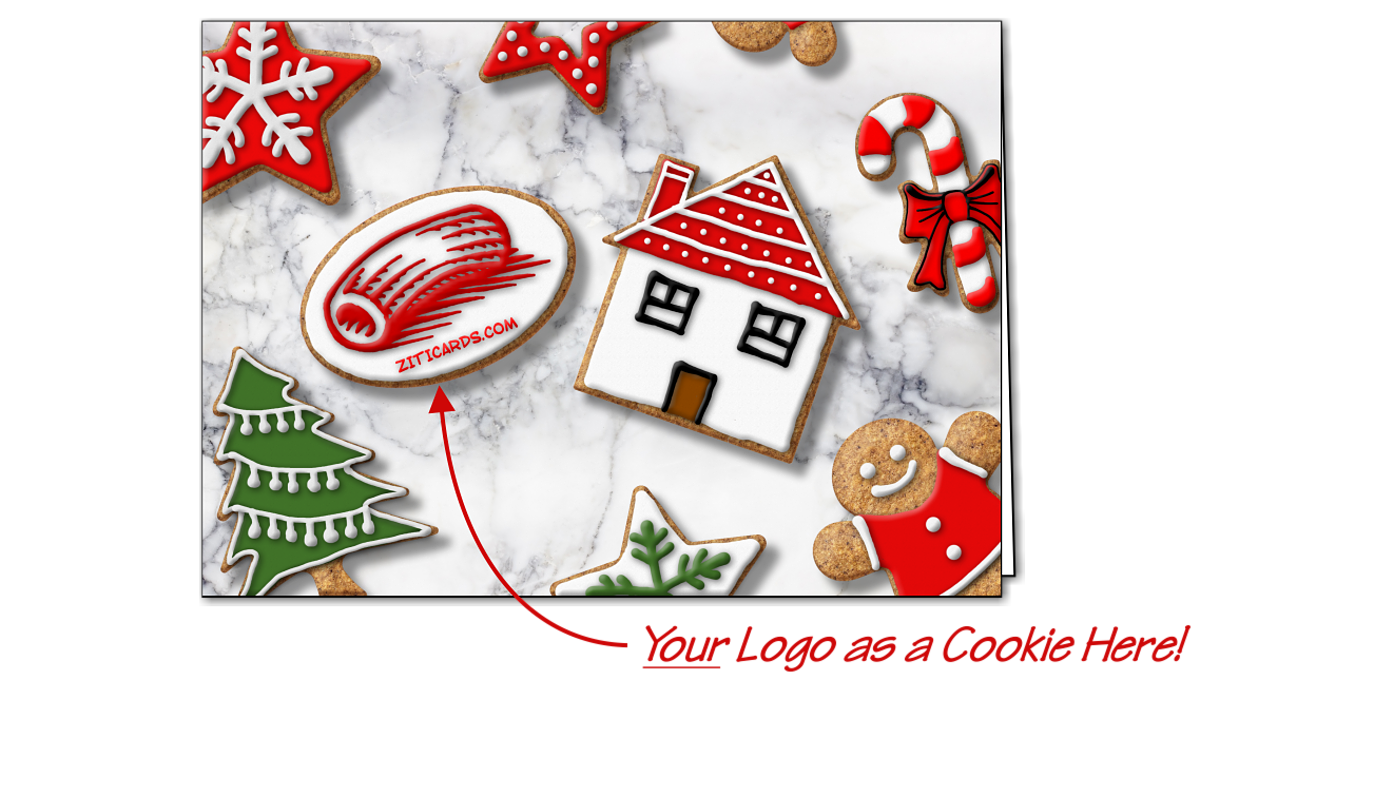 Real Estate Logo Cookies Christmas Cards Customized For Your Business