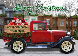 Red Christmas Truck Card