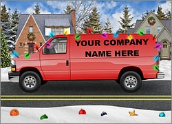 Red Van Christmas Card