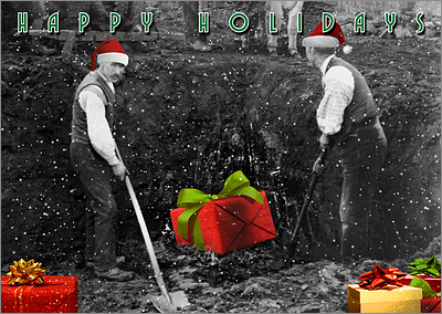 Shovel Laborers Christmas Card (Glossy White)
