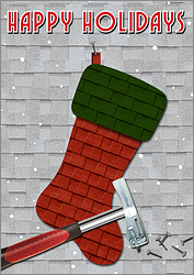 Stocking Roofing Christmas Card