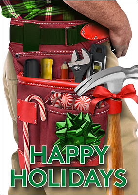 Tool Belt Christmas Card (Glossy White)
