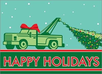 Tow Truck Greeting Card (Glossy White)