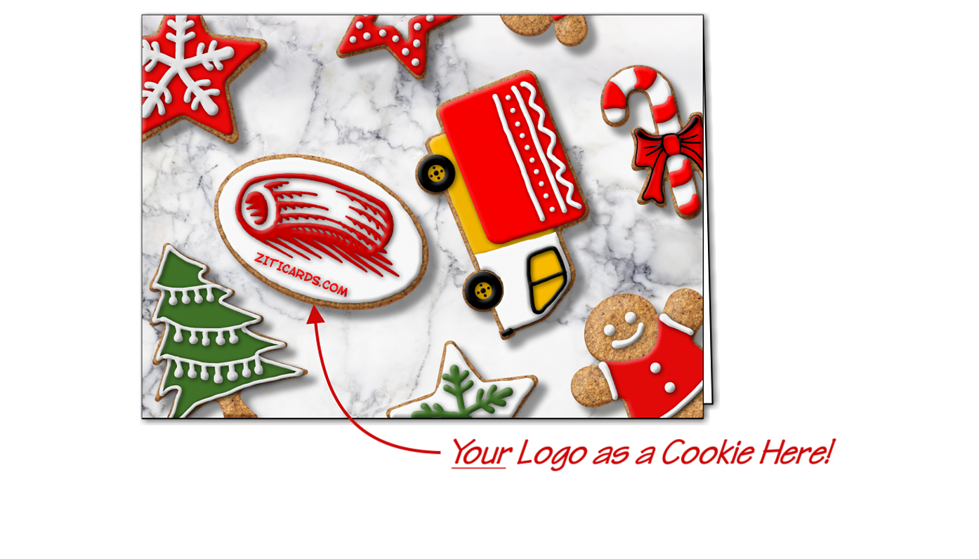 Trucking Logo Cookies Christmas Cards Customized For Your Business