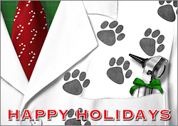 Veterinarian Pawprint Holiday Card