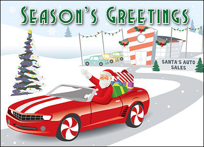 Auto Dealership Christmas Card (Glossy White)