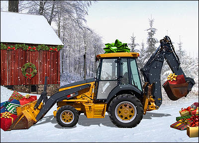 Backhoe Presents Christmas Card (Glossy White)
