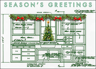 Cabinet Blueprint Holiday Card (Glossy White)