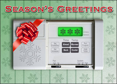 Christmas Card HVAC Thermostat (Glossy White)