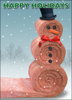 Christmas Card Insulation Snowman (Glossy White)