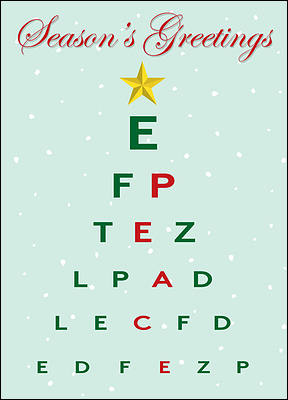Christmas Eye Chart Card Glossy White