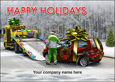 Christmas Hauler Holiday Card (Glossy White)
