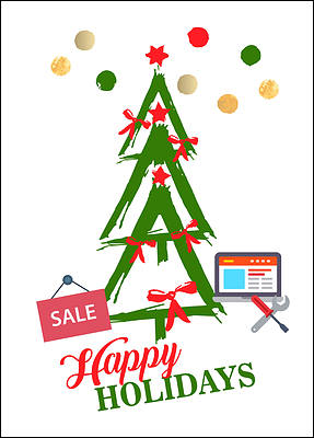 Computer Tree Holiday Card (Glossy White)