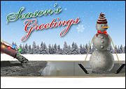 Concrete Snowman Christmas Card