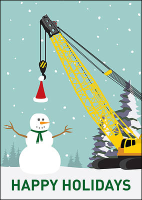 Construction Crane Card (Glossy White)