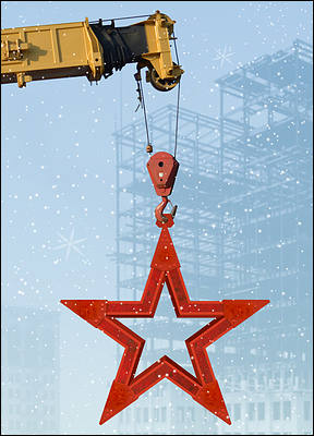 Crane Lifting Steel Star (Glossy White)