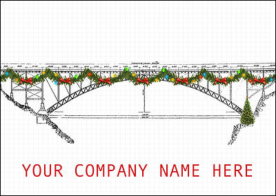Festive Bridge Christmas Card (Glossy White)