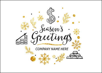 Financial Icons Christmas Card (Glossy White)