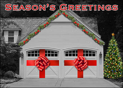 Garage Door Christmas Card (Glossy White)