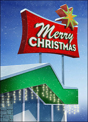 Googie Christmas Card (Glossy White)