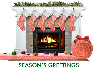 Insulation Fireplace Christmas Card (Glossy White)