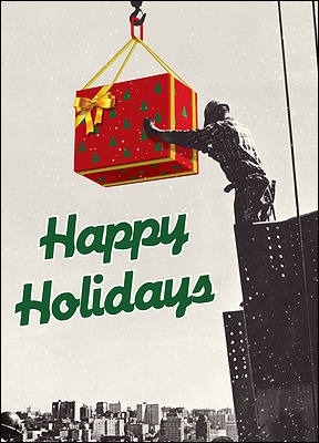 Ironworker Christmas Card (Glossy White)