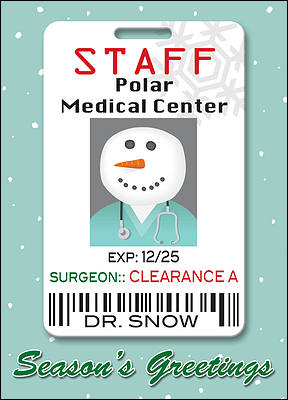Medical Christmas Card Badge (Glossy White)