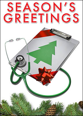 Nursing Clipboard Christmas Card (Glossy White)