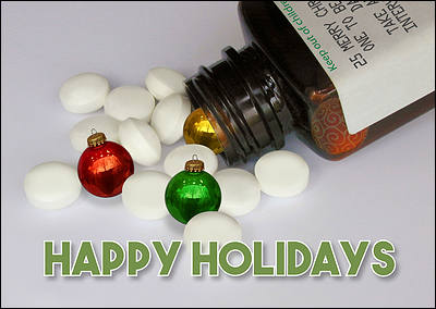 Ornament Pills Christmas Card (Glossy White)