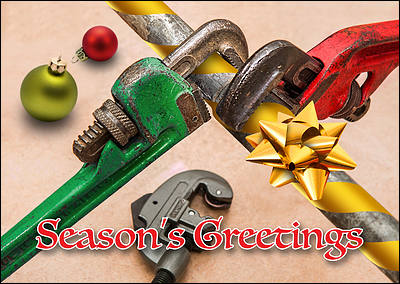 Pipe Wrench Christmas Card (Glossy White)