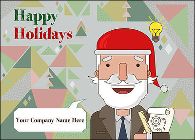Santa Engineers Christmas Card (Glossy White)