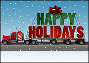 Semi Truck Holiday Card